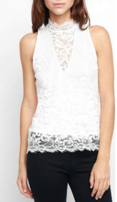 Red Haute Sleeveless Lace Tank