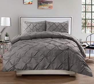 3 Piece Luxurious Pinch Pleat Decorative Pintuck Comforter Set - HIGHEST QUALITY