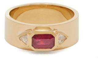 Azlee - 18kt Gold Diamond & Ruby Ring - Womens - Red