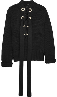 Lace-up Cashmere Sweater - Black