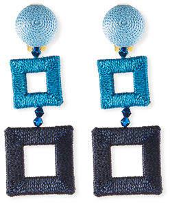 Oscar De La Renta Silk-Wrapped Double-Square Earrings I1WFG