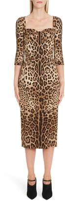 Dolce & Gabbana Leopard Print Bustier Bodice Sheath Dress