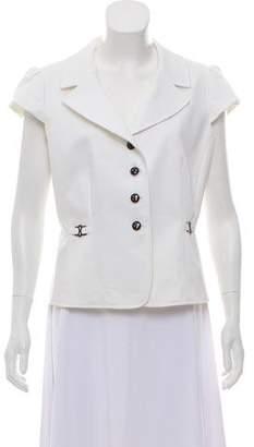 Tahari Cap Sleeve Button-Up Top