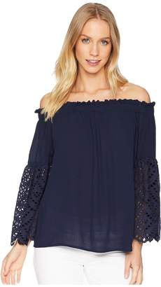 1 STATE 1.STATE Off Shoulder Blouse with Eyelet Sleeves Women's Blouse