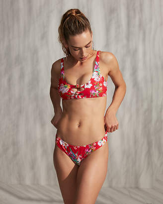 Express Print Knot Front Cut-Out Bikini Top