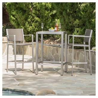 Christopher Knight Home Cape Coral 3pc All-Weather Wicker/Metal Patio Bar Set - Gray