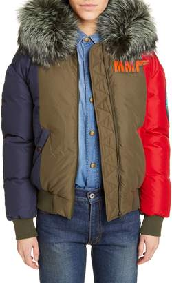 Mr & Mrs Italy Armstrong Waterproof Down Bomber Jacket with Genuine Fox Fur Trim