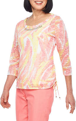 HEARTS OF PALM Hearts Of Palm Blush Strokes-Womens Scoop Neck 3/4 Sleeve T-Shirt