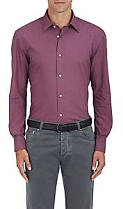 Piattelli MEN'S CHECKED COTTON SHIRT-WINE SIZE L