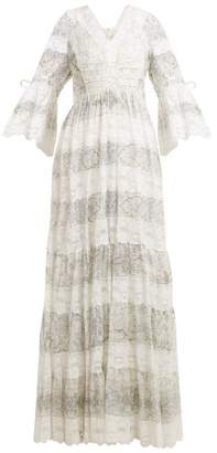 Etro Lace Trimmed Floral Print Cotton Blend Dress - Womens - Grey White