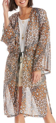 Sole Society Sheer Colorblock Leopard Duster