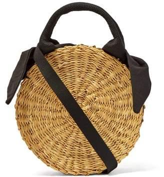 Muun Rosa Circular Cotton Lined Straw Bag - Womens - Black