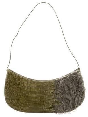 Nancy Gonzalez Crocodile & Mongolian Lamb Shoulder Bag