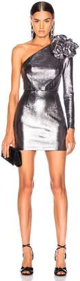 Zeynep Arcay for FWRD One Shoulder Leather Dress in Dark Silver | FWRD