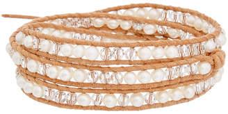 Chan Luu Silver & Leather 4Mm Pearl & Crystal Wrap Bracelet