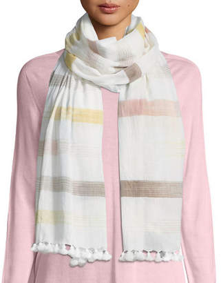 Eileen Fisher Hand-Loomed Organic Cotton Ikat-Striped Scarf