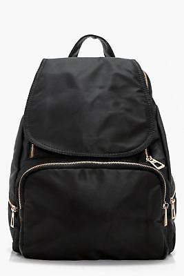boohoo Womens Kerry Nylon Zips And Flap Rucksack in Black size One Size