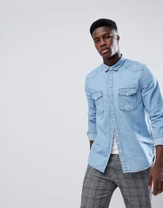Weekday Coy Denim Shirt S blue
