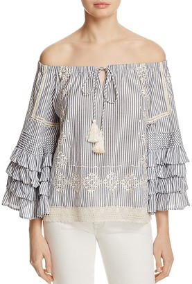 Love Sam Off-the-Shoulder Ruffle Stripe Top $255 thestylecure.com