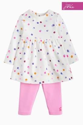 Next Girls Joules Cream Spot Baby Christina Dress Set