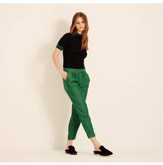 Amanda Wakeley Emerald Herringbone Slim Leg Trousers