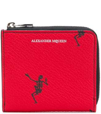 Alexander McQueen skeleton embroidered zip closure wallet