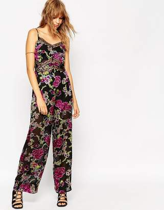 Asos Jumpsuit in Floral Devore with Lace Insert