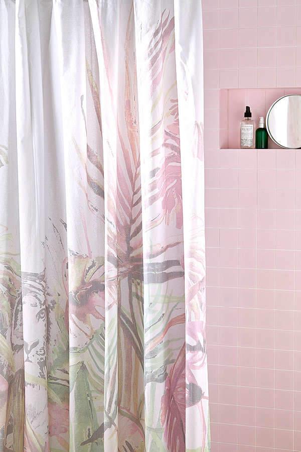 Jungle Foliage Illustrative Shower Curtain