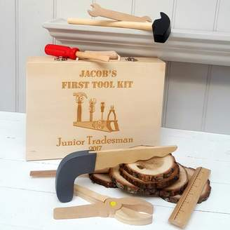 Little Foundry Personalised Wooden Tool Kit With Tools