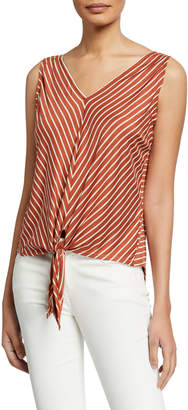 Max Studio Bias Striped Tie-Front Blouse
