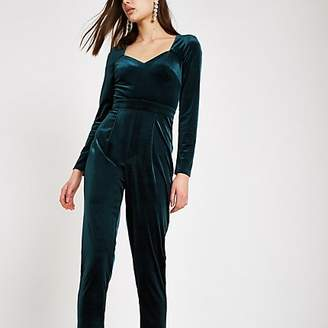 River Island Dark green long sleeve velvet jumpsuit