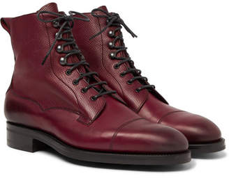 Edward Green Galway Cap-Toe Textured-Leather Boots - Men - Burgundy