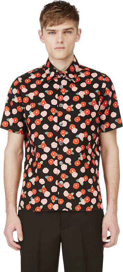 Raf Simons Black Floral Print Shirt