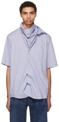 Bless White and Blue Grid Neckerchief Shirt