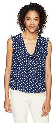 Lark & Ro Women's Standard Woven Sleeveless Bubble Hem Top