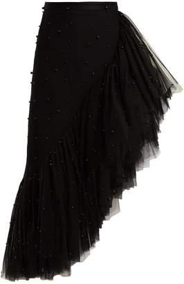 Asymmetric pearl-embellished ruffle skirt