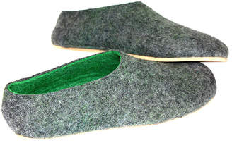 "Men's Cork Green Wool Slip-On Shoes ""Magic"""