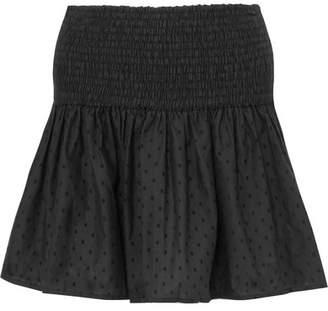 Marysia Swim Lahaina Smocked Flocked Cotton Mini Skirt - Black