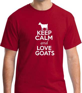 AG Jeans Allure & Grace Keep Calm & Love Goats Funny Gift Wrapped Premium Men's Short Sleeve Tshirt A&G (XLarge, )