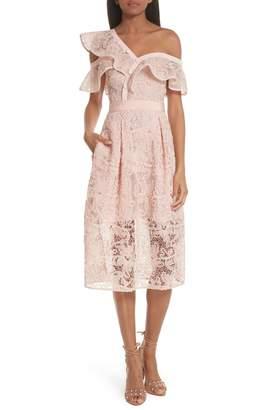 Self-Portrait Lace Shoulder Cutout Midi Dress