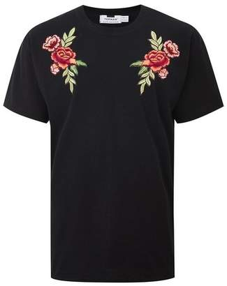 Topman Mens Black Rose Applique T-Shirt