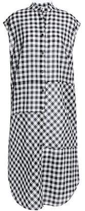 McQ Lace-up Gingham Cotton Midi Dress