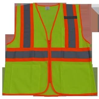 Petra Roc LVM2-CB1-4X-5X Safety Vest Ansi Class Ii Lime Mesh & Orange Contrast Binding 3-4 Pockets Zipper Closure, 4X & 5X