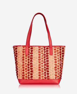 GiGi New York Baja Tote In Red Pom Pom Raffia With Pebble Grain