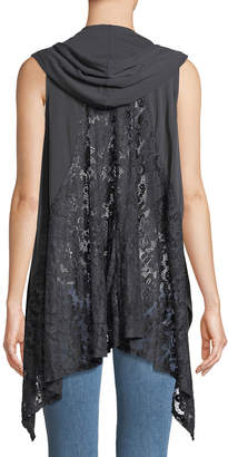 Lumie Hooded Lace-Back Open-Front Vest