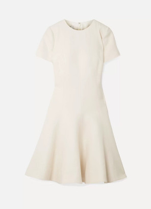 Valentino Wool And Silk-blend Dress - Off-white
