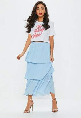 Missguided Blue Tiered Midi Skirt, Blue