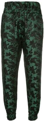 Mother of Pearl cropped foliage patterned trousers