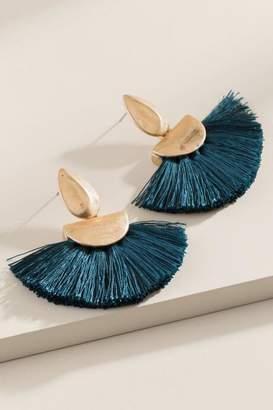 francesca's Lidia Fanned Tassel Earrings - Pine