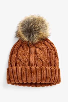Next Womens Ginger Cable Pom Hat - Orange